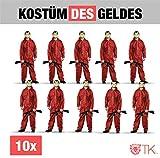 10x Kostüm Set des Geldes Kostüm casa del papel Bella Ciao Haus für Herren, Damen...