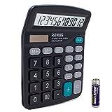 RENUS Standard Taschenrechner 12-stelliger Tischrechner Dual-Power (Solar und...