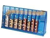 Euro Münzsortierer Spardose - Sammeldose blau transparent - Sparschwein