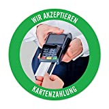 WIRKSAMWERBEN Sticker Aufkleber: Wir akzeptieren Kartenzahlung, Kreditkarten möglich...