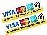 "2x bedruckte Vinylaufkleber mit ""Visa, Mastercard, American Express Contactless..."