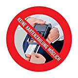 Aufkleber: Nur Barzahlung, Keine Kartenzahlung Kreditkarten möglich - 9,5 cm