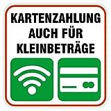 deformaze Sticker Kartenzahlung auch für Kleinbeträge Aufkleber Zahlungsmethoden 10...