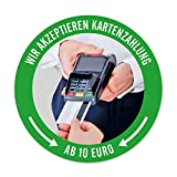 Aufkleber: Wir akzeptieren Kartenzahlung AB 10 EURO | 9,5 cm